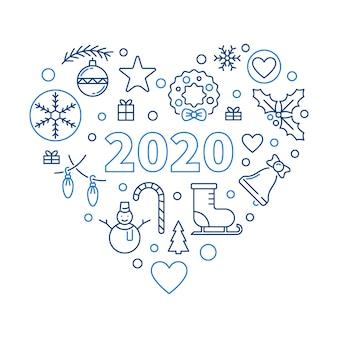 2020 szczęśliwego nowego roku serca ilustracji