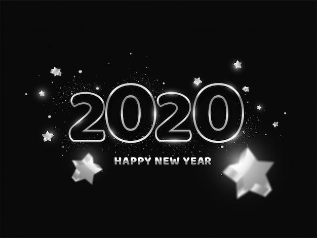 2020, szczęśliwego nowego roku tekst ozdobiony gwiazdami 3d na czarno.