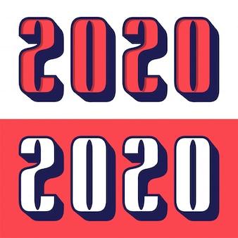 2020 szczęśliwego nowego roku tekst w nowoczesnym stylu do druku karty