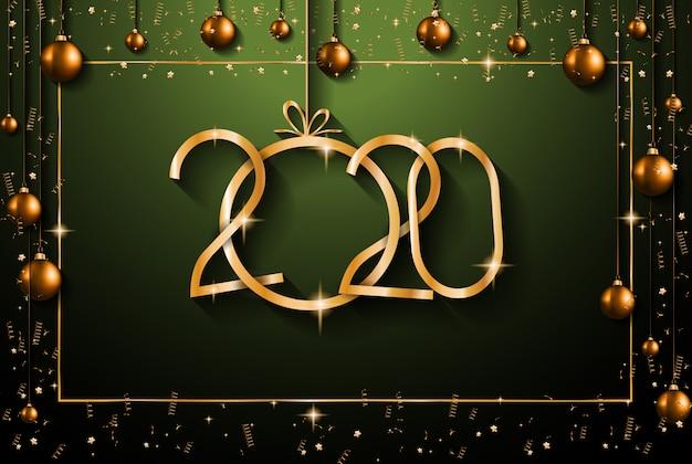 2020 szczęśliwego nowego roku tło dla sezonowych ulotek i kart okolicznościowych na boże narodzenie