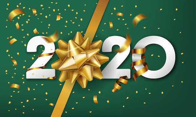 2020 szczęśliwego nowego roku tło z kokardą złoty prezent i konfetti