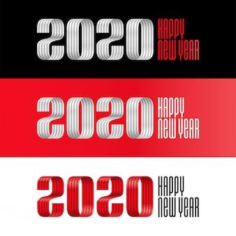 2020 szczęśliwego nowego roku wstążka napis transparent
