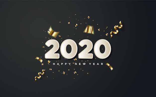 2020 szczęśliwego nowego roku z białymi cyframi i kawałkami złotego papieru na czarnym.