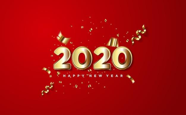 2020 szczęśliwego nowego roku ze złotymi cyframi i kawałkami złotego papieru na czerwonym.
