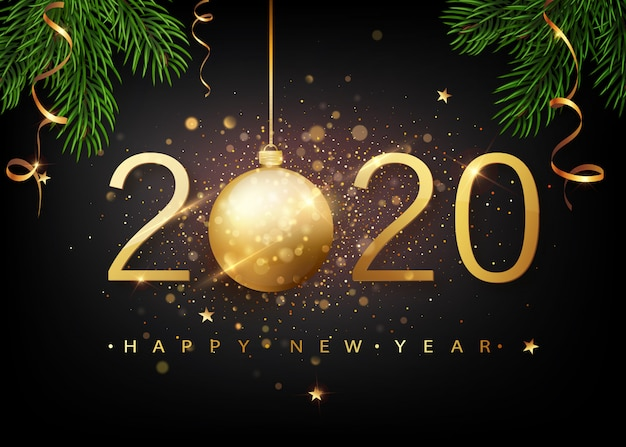 2020 szczęśliwego nowego roku. złote numery kart okolicznościowych falling shiny confetti. gold shining pattern.