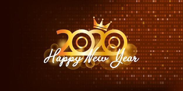 2020 szczęśliwego nowego roku złote tło