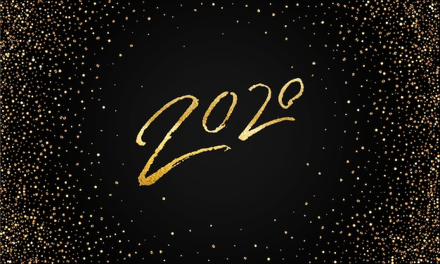 2020 szczęśliwego nowego roku złoty błyszczący szablon sztandaru.