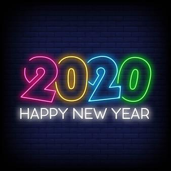 2020 szczęśliwych nowy rok neonów styl