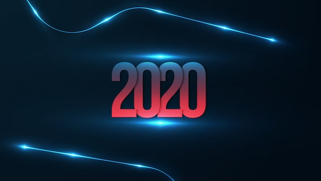 2020 tło z futurystycznym świecącym. szczęśliwego nowego roku z czerwonym i niebieskim gradientem na 2020 roku.