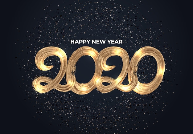 2020 typografia efekt złotego pędzla