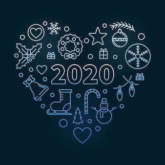 2020 wesołych świąt bożego narodzenia serca ilustracji
