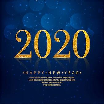 2020 złoty nowy rok niebieski święto
