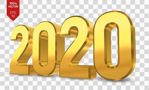 2020 złotych liczb. szczęśliwego nowego roku 2020.