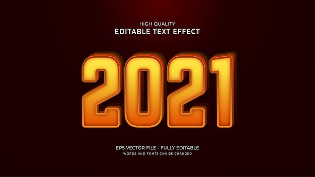 2021 efekt tekstowy, edytowalny efekt graficzny tekstu