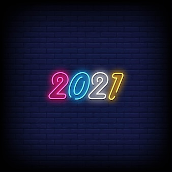 2021 neony styl wektor tekst