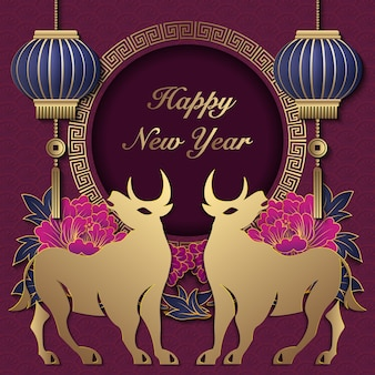 2021 szczęśliwego chińskiego nowego roku wół złotej fioletowej piwonii kwiat latarnia okrągła spiralna rama kratowa.