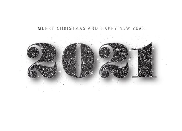 2021 szczęśliwego nowego roku. czarny numer brokatu. baner z życzeniami wakacyjnymi w minimalistycznym stylu.