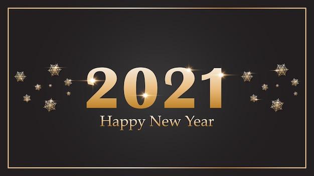 2021 szczęśliwego nowego roku. elegancki złoty tekst na tle.