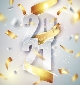 2021 szczęśliwego nowego roku eleganckie tło wektor ze złotą wstążką prezent, konfetti, białe cyfry