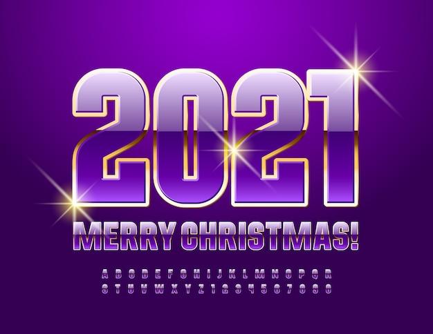 2021 szczęśliwego nowego roku. fioletowo-złota błyszcząca czcionka. luksusowy zestaw liter alfabetu i cyfr