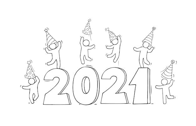 2021 szczęśliwego nowego roku karty. kreskówka doodle ilustracja z małymi ludźmi przygotowują się do świętowania.