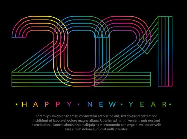 2021 szczęśliwego nowego roku. liczby w stylu liniowym minimalnym.