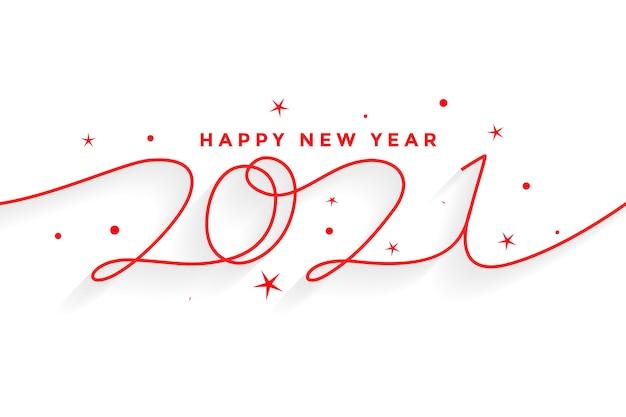 2021 szczęśliwego nowego roku napis tło w stylu linii