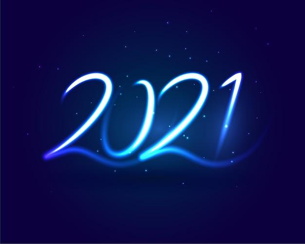 2021 szczęśliwego nowego roku neon styl niebieskie tło smugi
