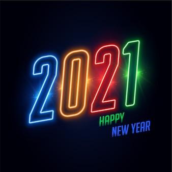 2021 szczęśliwego nowego roku neonowe kolory błyszczące tło