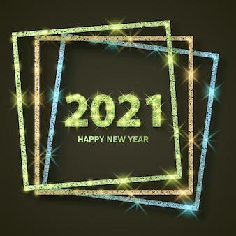 2021 szczęśliwego nowego roku powitanie banner nowy rok 2021 z lśniącą złotą i brokatową teksturą