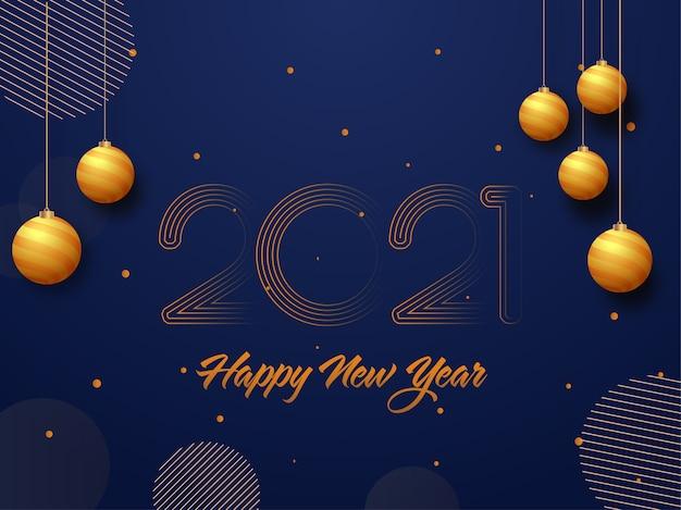 2021 szczęśliwego nowego roku tekst z wiszące złote bombki zdobione na niebieskim tle