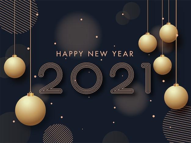 2021 szczęśliwego nowego roku tekst z wiszącymi złotymi bombkami