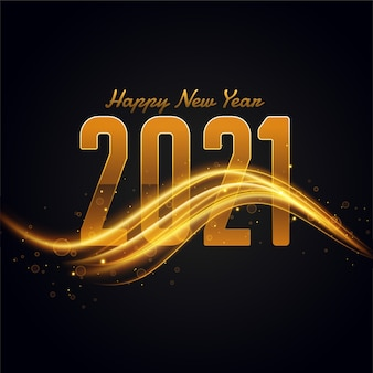 2021 szczęśliwego nowego roku tło ze złotą smugą światła