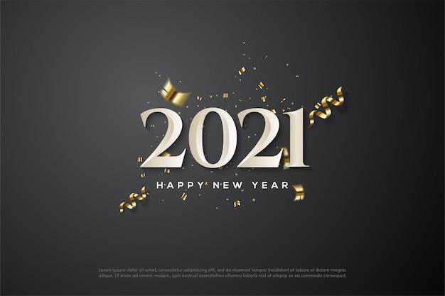 2021 szczęśliwego nowego roku z białymi cyframi i eleganckimi złotymi wstążkami