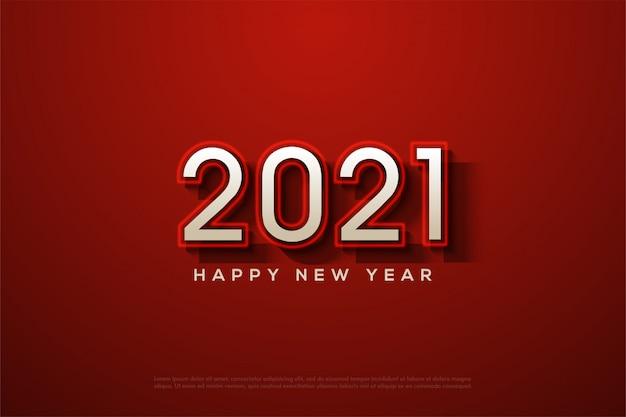 2021 szczęśliwego nowego roku z białymi cyframi i świecącymi czerwonymi liniami