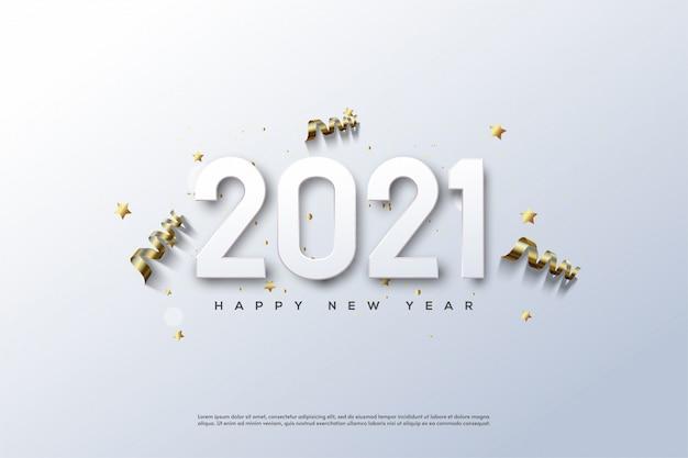 2021 szczęśliwego nowego roku z białymi cyframi na niebieskawo białym tle