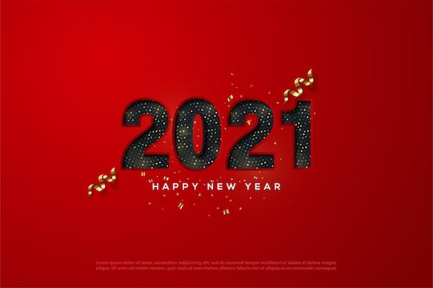 2021 szczęśliwego nowego roku z czarnymi numerami półtonów na czerwonym tle