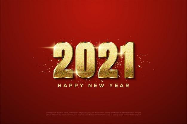 2021 szczęśliwego nowego roku z figurami 3d złota błyszczącymi