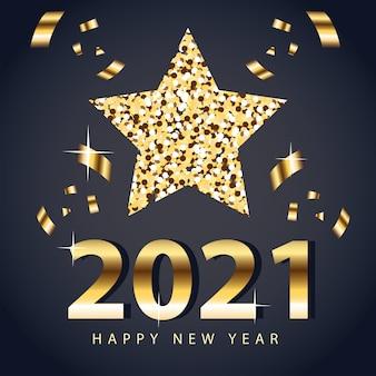 2021 szczęśliwego nowego roku z gwiazdą i złotym konfetti, witamy świętować i pozdrawiać