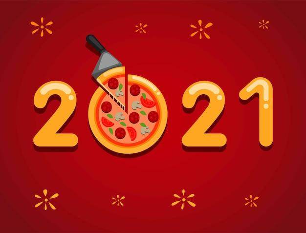 2021 szczęśliwego nowego roku z koncepcją patelni do pizzy w kreskówce