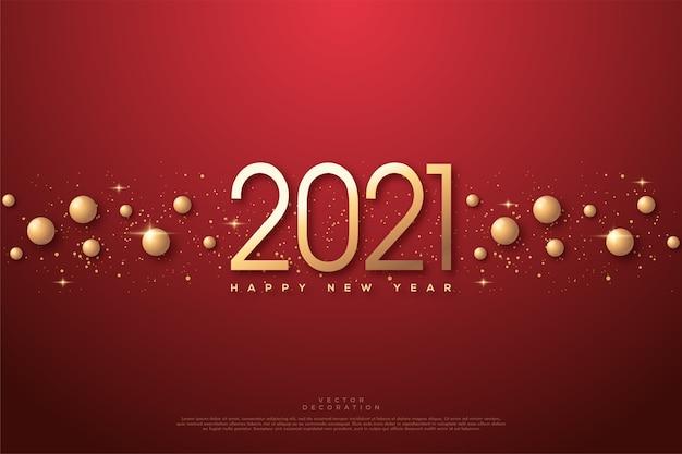 2021 szczęśliwego nowego roku ze złotymi liczbami i 3d złotymi kulkami.