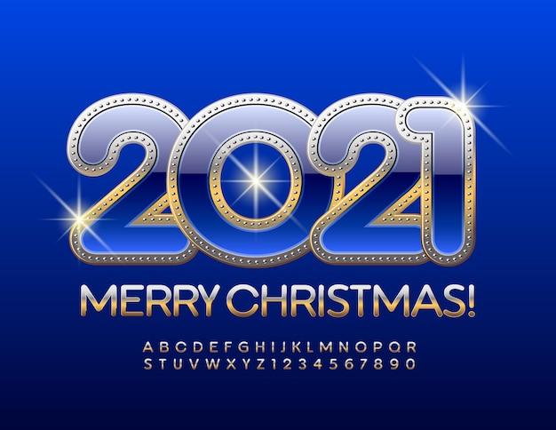 2021 szczęśliwego nowego roku. złota elegancka czcionka. elegancki zestaw liter alfabetu i cyfr