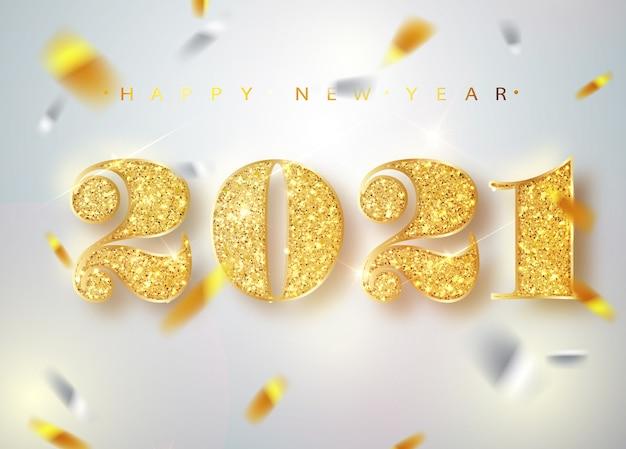 2021 szczęśliwego nowego roku. złote numery design z życzeniami spadających błyszczących konfetti.