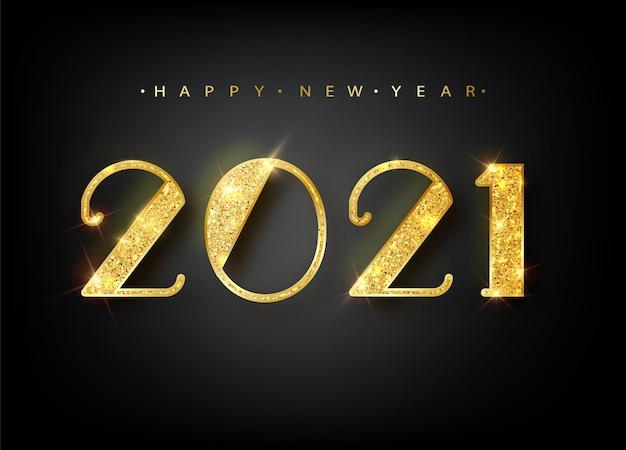 2021 szczęśliwego nowego roku. złoto numery projekt karty z pozdrowieniami. baner szczęśliwego nowego roku z 2021 r
