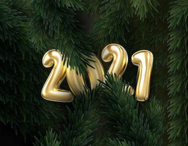 2021 złote numery z odbiciem i cieniem na tle gałęzi jodły. karta podarunkowa świąteczna szczęśliwego nowego roku.