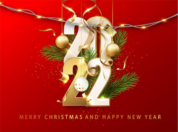 2022 czerwone boże narodzenie, nowy rok w tle. kartkę z życzeniami lub plakat z szczęśliwego nowego roku 2022 ze złotym brokatem i połyskiem. ilustracja wektorowa dla sieci web