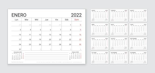 2022 hiszpański kalendarz. szablon planowania. układ kalendarza stołowego z 12 miesiącem. tydzień zaczyna się w poniedziałek