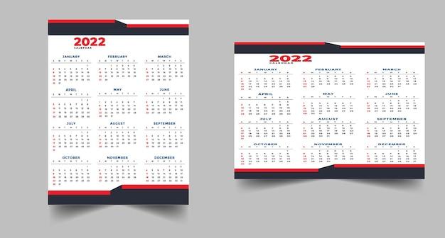 2022 kalendarz czarny czerwony szablon projektu
