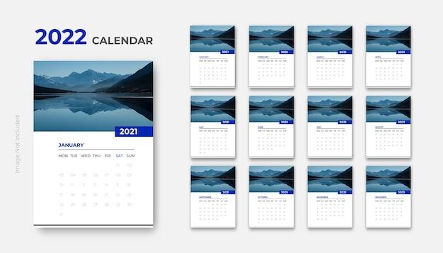 2022 kalendarz ścienny czysty projekt printready szablon wektor