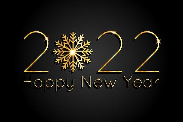 2022 nowy rok i boże narodzenie tło ze złotymi lśniącymi cyframi i płatkiem śniegu. ilustracja wektorowa luksusowy elegancki.